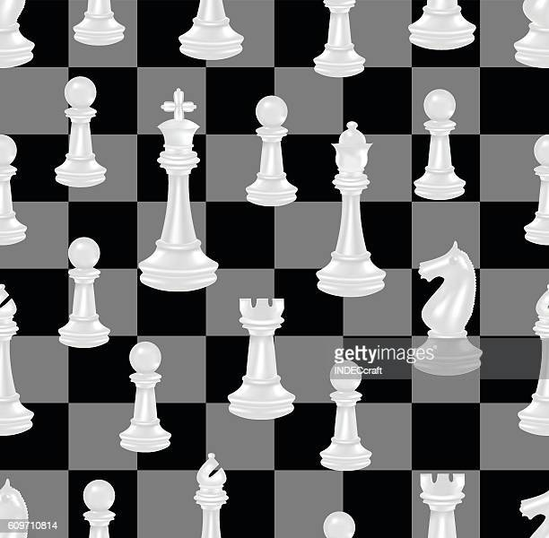 Chess Pieces And Chess Board  Seamless Background