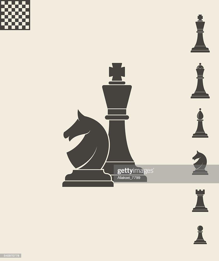 Chess pieces. Icon set