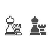 Chess pieces line and solid icon, business strategy concept, strategy and tactics sign on white background, Rook and bishop icon in outline style for mobile concept and web design. Vector graphics.