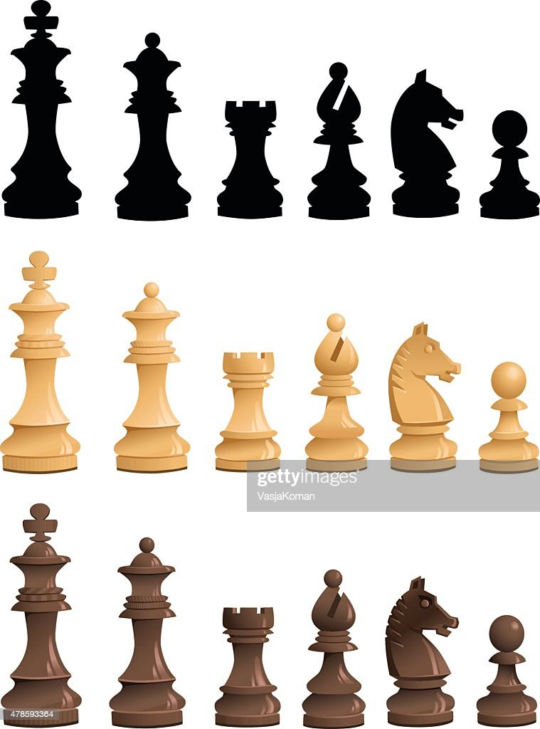 Chess Pieces Set - Black White Silhouettes