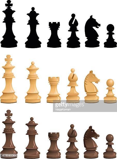 Chess Pieces Set - Black White Silhouettes