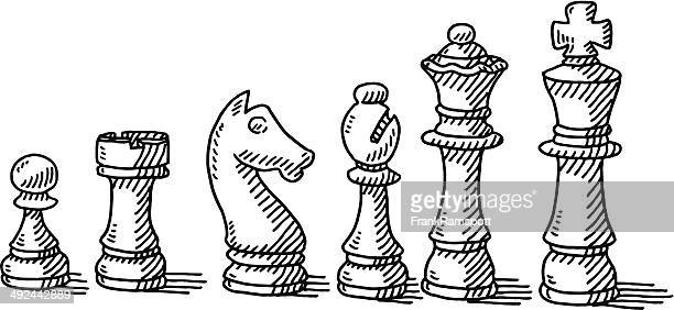 chess pieces set drawing - chess stock illustrations