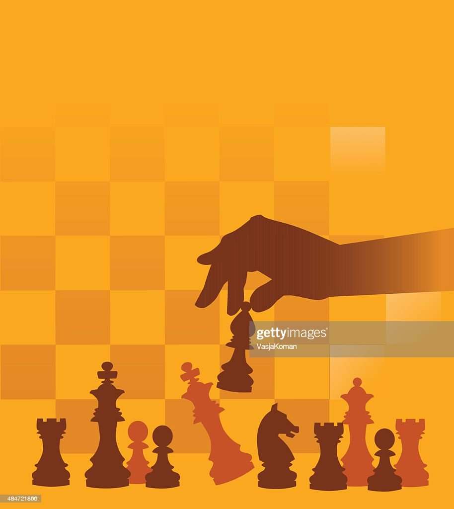 Chess Pieces with Hand on Checked Background