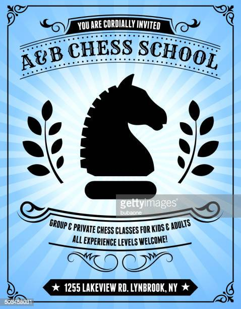 Chess school Poster on Blue Background