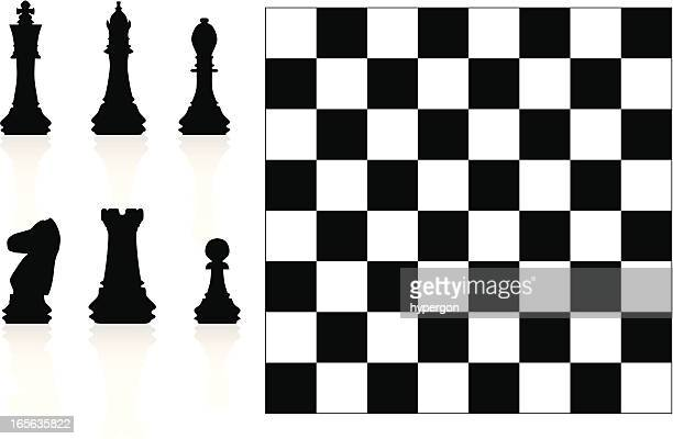 chess silhouettes - chess board stock illustrations