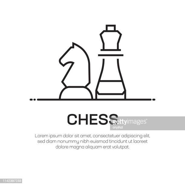 chess vector line icon - simple thin line icon, premium quality design element - chess stock illustrations