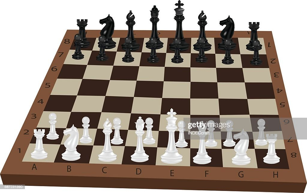 Chessboard  With Chess Pieces : Stock Illustration