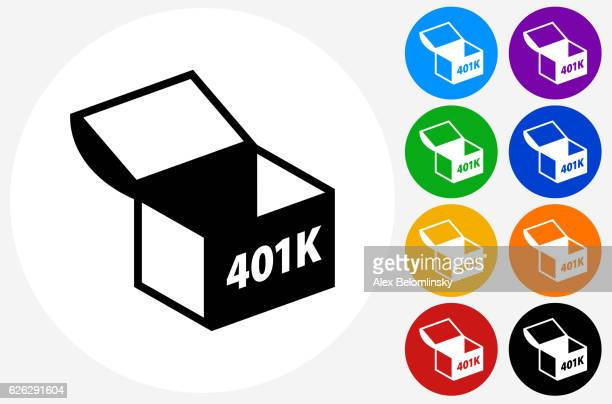 401K Chest Icon on Flat Color Circle Buttons
