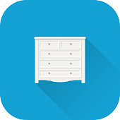 Chest of drawers icon. Vector. Flat design with long shadow.