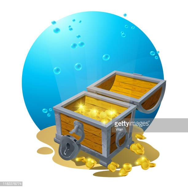 chest of gold in the sand under the blue clouds - vector illustration for design, backgrounds, postcards. vector - hidden stock illustrations, clip art, cartoons, & icons