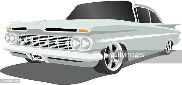 stockillustraties, clipart, cartoons en iconen met chevrolet impala 1959 - 1950 1959
