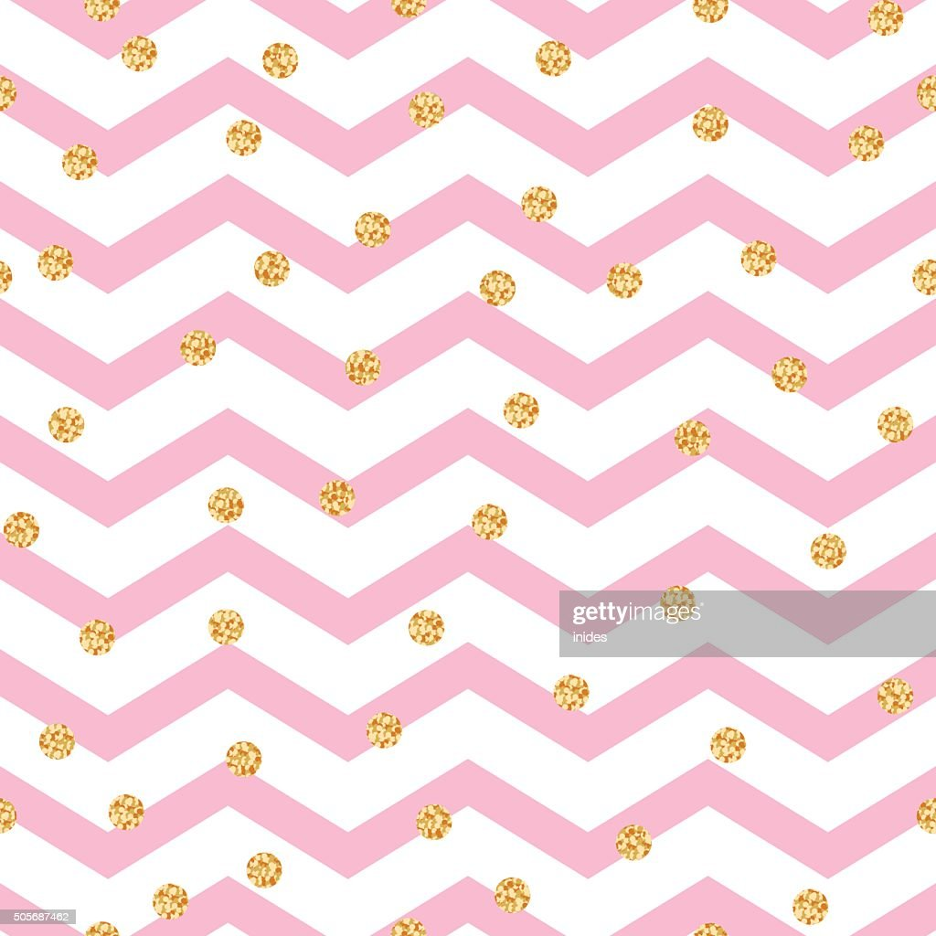 Chevron zigzag pink and white seamless pattern with golden shimmer