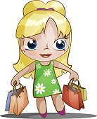 chibi girl with purchases