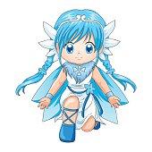 Chibi style illustration of a super-heroine