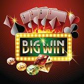 Chic casino logo with shiny text Big win