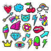 Chic fashion badges. Girl doodle applique patches