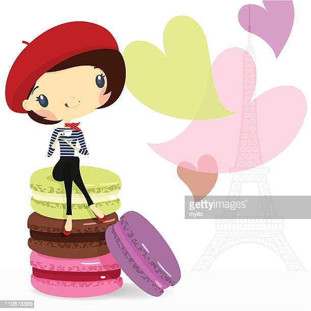 chic girl. love paris, coffee & macarons. illustration vector cartoon - macaroon stock illustrations, clip art, cartoons, & icons