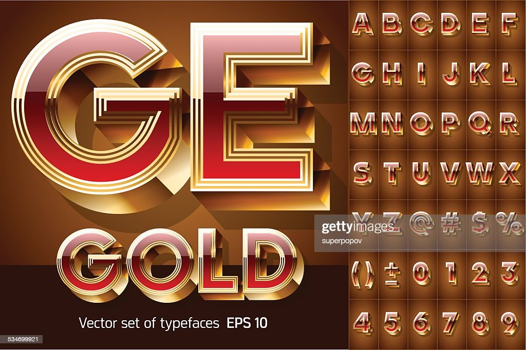 Chic golden 3D beveled and coloured font