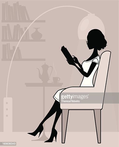 chic reader - chaise stock illustrations, clip art, cartoons, & icons