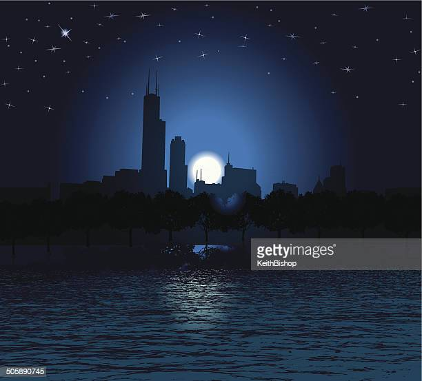chicago at night - cityscape background - chicago loop stock illustrations, clip art, cartoons, & icons