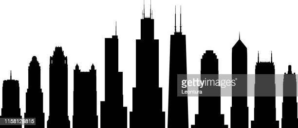 chicago buildings - chicago loop stock illustrations, clip art, cartoons, & icons