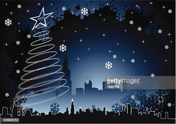 chicago christmas background - chicago loop stock illustrations, clip art, cartoons, & icons