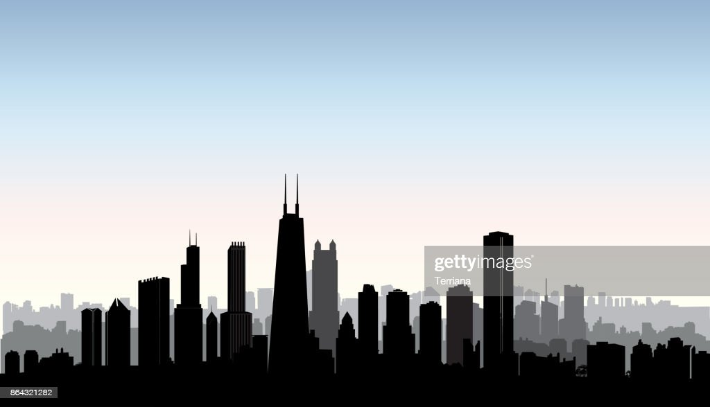 Chicago city buildings silhouette. USA urban landscape. American cityscape with landmarks. Travel USA skyline background.