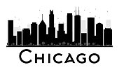 Chicago City skyline black and white silhouette.