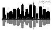 Chicago City skyline black and white silhouette with reflections.