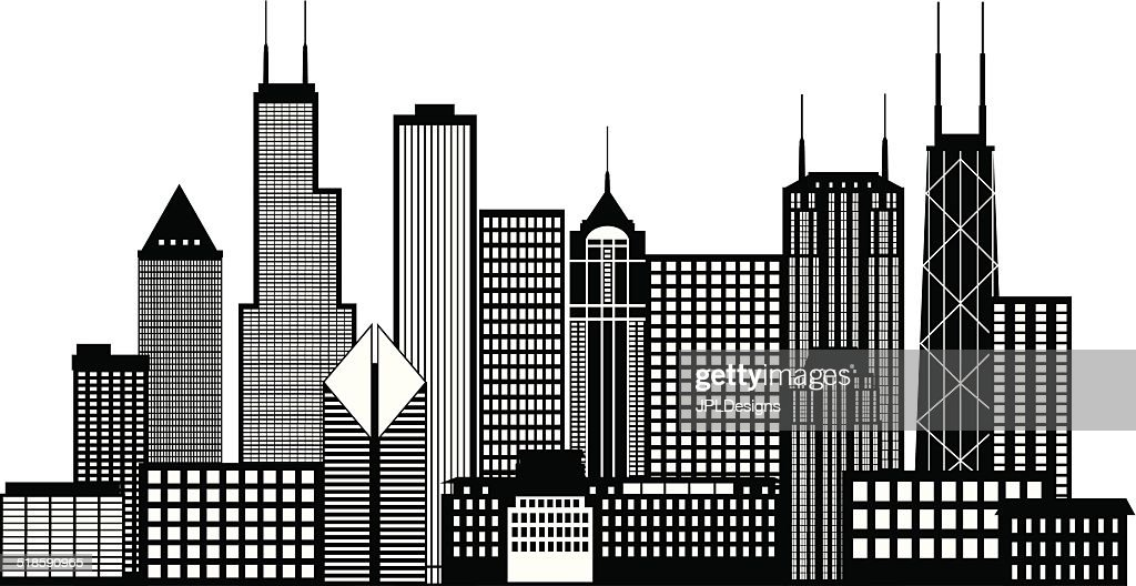 Chicago City Skyline Black and White Vector Illustration