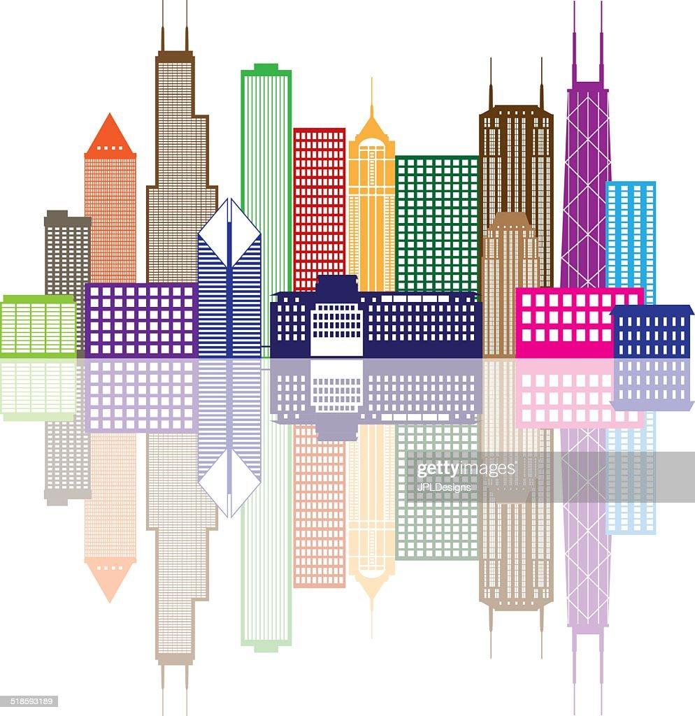 Chicago City Skyline Color Vector Illustration