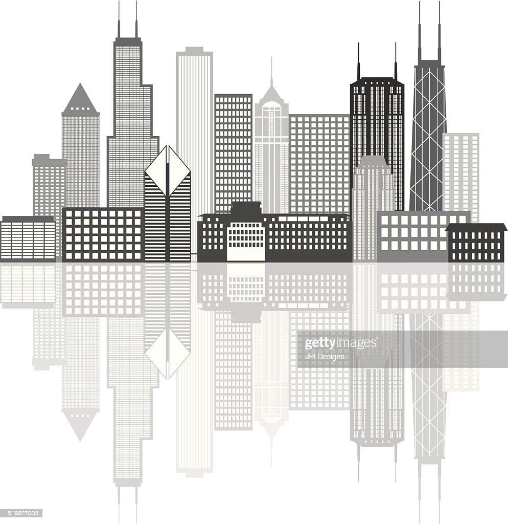 Chicago City Skyline Grayscale Illustration