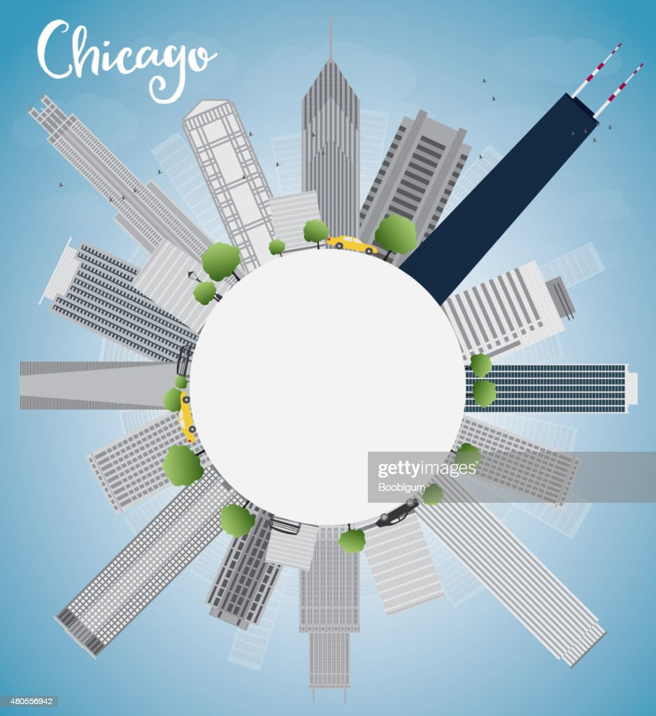 Chicago city skyline with grey skyscrapers and blue sky : Vector Art