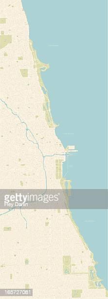 chicago coastline map - chicago loop stock illustrations, clip art, cartoons, & icons