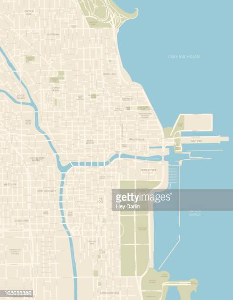 chicago downtown map - chicago river stock illustrations
