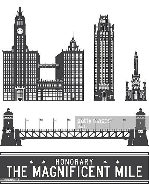 chicago icons - the magnificent mile - chicago river stock illustrations