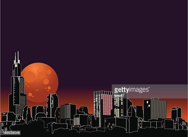 Chicago Night Skyline with Harvest Moon