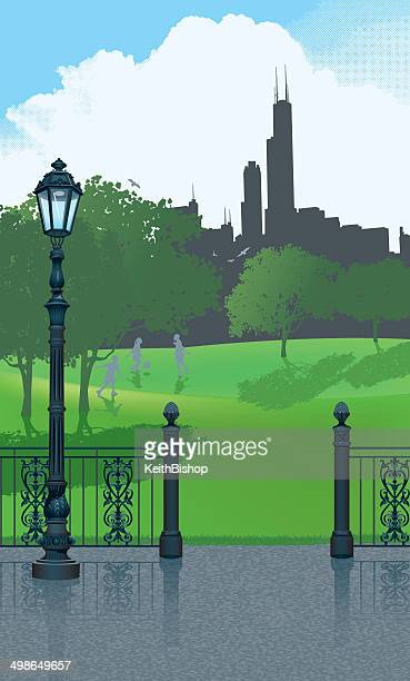 chicago skyline and city park - chicago loop stock illustrations, clip art, cartoons, & icons