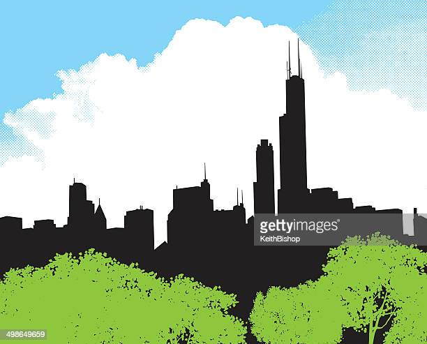 chicago skyline background - chicago loop stock illustrations, clip art, cartoons, & icons