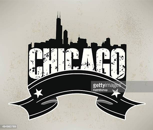 chicago skyline banner graphic background - chicago loop stock illustrations, clip art, cartoons, & icons