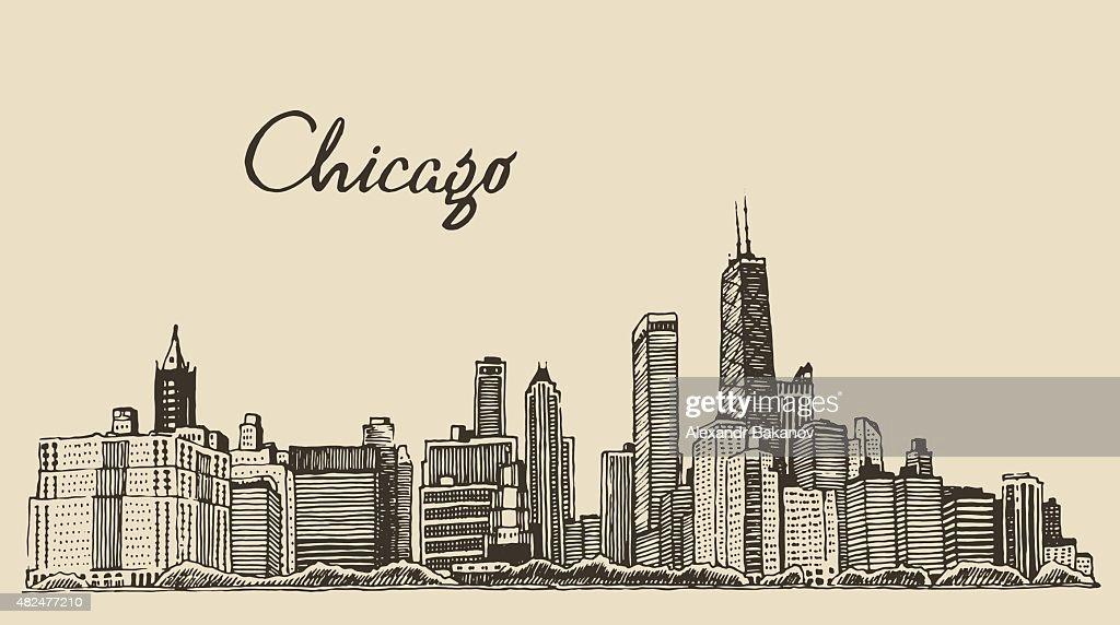 Chicago skyline big city engraving vector drawn