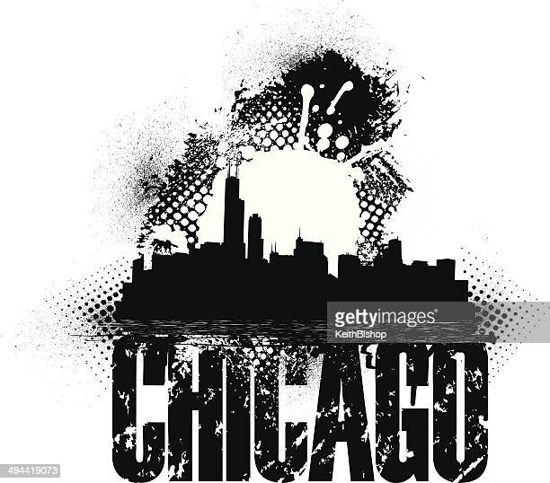 chicago skyline grunge graphic background - chicago loop stock illustrations, clip art, cartoons, & icons