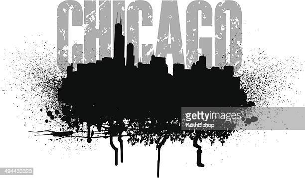 chicago skyline grunge graphic - chicago loop stock illustrations, clip art, cartoons, & icons