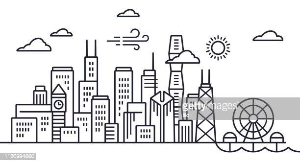chicago skyline line drawing - skyscraper stock illustrations