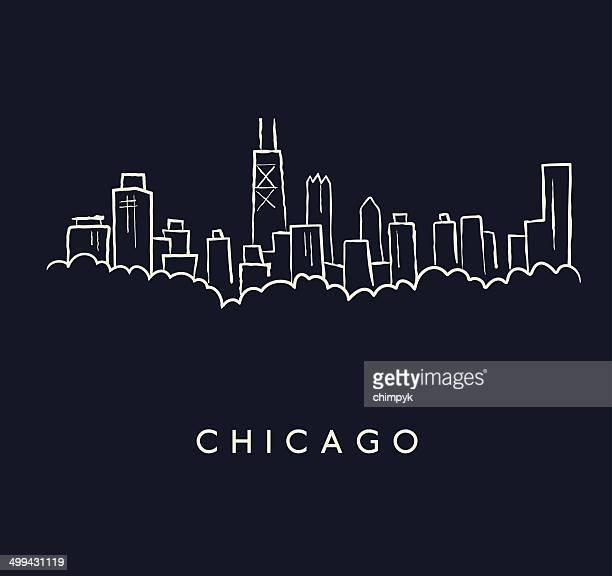 chicago skyline sketch - chicago stock illustrations, clip art, cartoons, & icons