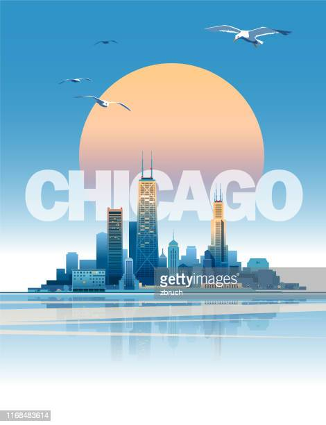 chicago skyline - skyline stock illustrations