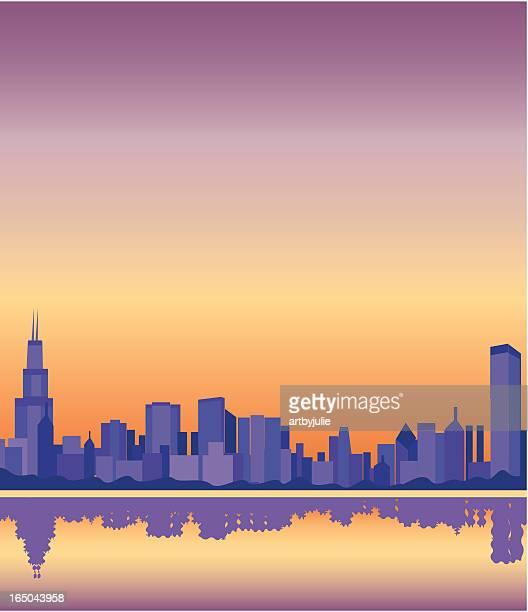 chicago skyline - lakeshore stock illustrations