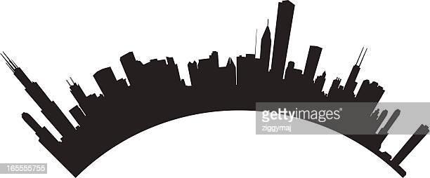 chicago skyline - chicago loop stock illustrations, clip art, cartoons, & icons