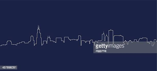 chicago skyline - cityscape stock illustrations