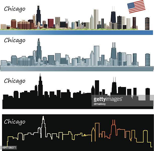 chicago skyline - chicago stock illustrations, clip art, cartoons, & icons